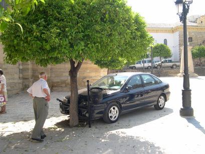 Un turismo sin conductor irrumpe en la Plazoleta y se estrella contra un naranjo