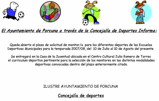 Abierto el plazo de solicitud de monitores deportivos para las Escuelas Deportivas Municipales en la temporada 2007/08