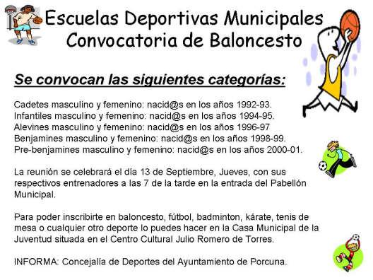 Convocatoria deportiva de baloncesto de las Escuelas Deportivas Municipales