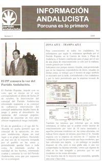 El Partido Andalucista arremete en su boletín informativo contra la gestión del alcalde y su equipo de gobierno